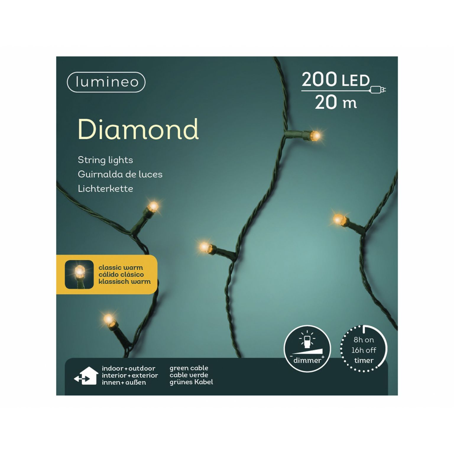 LED diamondverlichting lumineo 200 lamps 'klassiek warm