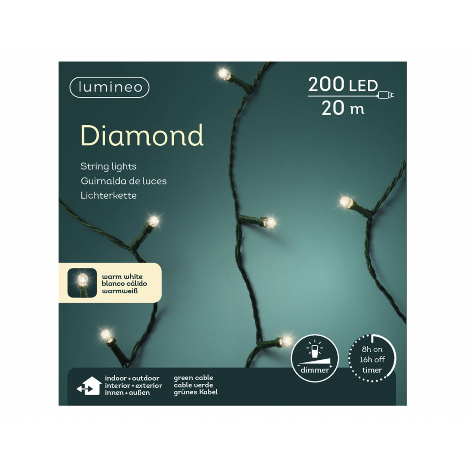 LED diamondverlichting lumineo 200 lamps 'warm wit