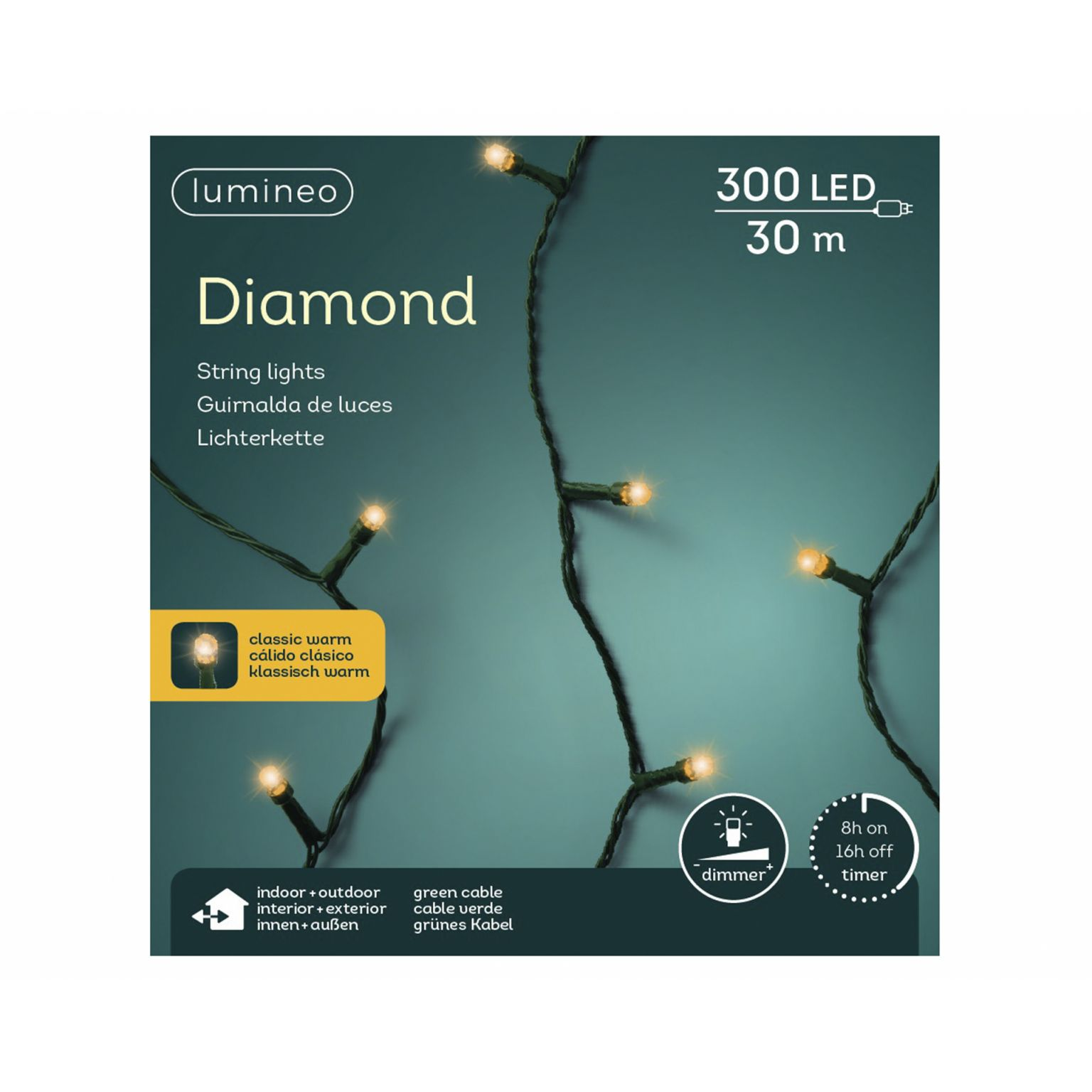 LED diamondverlichting lumineo 300 lamps 'klassiek warm