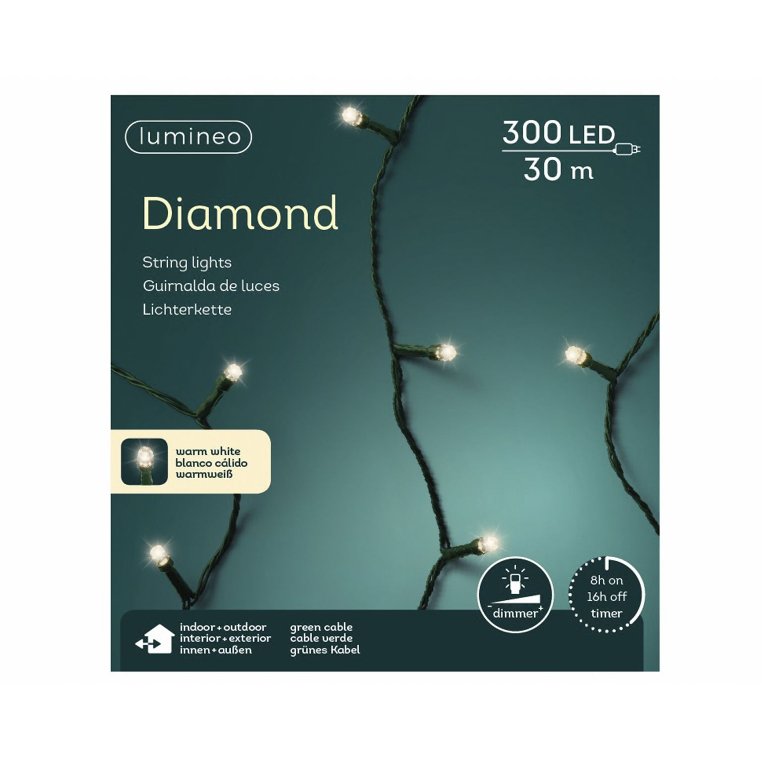 LED diamondverlichting lumineo 300 lamps 'warm wit