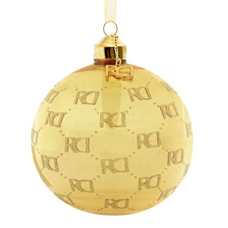 Roy Donders kerstbal RD-logo all over gold - afbeelding 1
