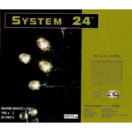 System-24 koppelbare netverlichting 196 lamps warm wit, 300x300cm - afbeelding 1