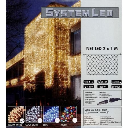 System-Led 230 V. Netverlichting 100 lamps warm wit, 200x100cm - afbeelding 1