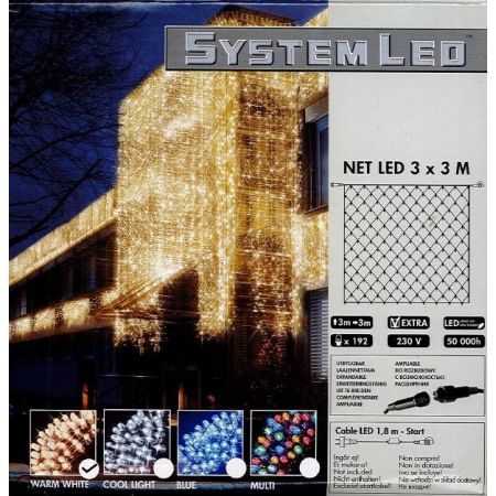 System-Led 230 V.Netverlichting 192 lamps warm wit, 300x300cm - afbeelding 1